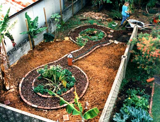 Garden paths made, the soil mulched and perennials planted, the garden is almost ready for planting out.