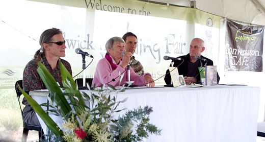 Authors at the Ecoliving Fair, from left: David Holmgren; Rose,ary Morrow; David Arnold; Russ Grayson (program host).