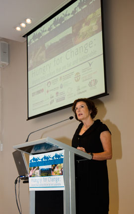 MC of Hungry For Change, food journalist Joanne Saville, manager of the Sydney International Food Festival.