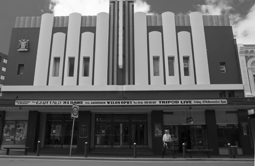 Launceston's Princess Theatre, one of the Art Deco buildings found among older structures.
