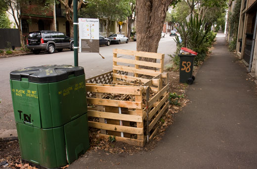 Composting claims the footpath in Chippendale