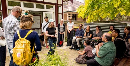 Fiona Campbell relates the story of Barrett House to Milkwood Permaculture students.