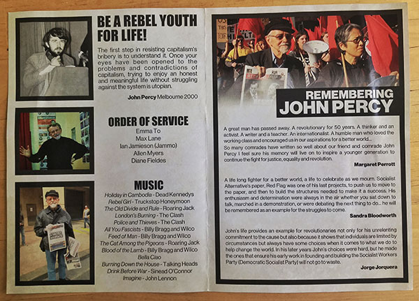The program distributed at John Percy's funeral — inside pages.