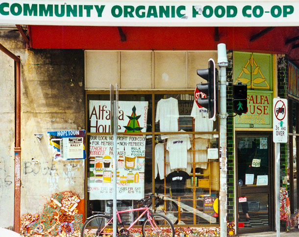 Member-owned food co-operatives had their origin in the 1970s and today form a social enterprise element within the community food movement. Alfalfa House Food Co-op, seen in the photo, is NSW's longest-operating co-op.