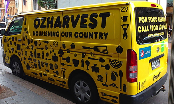 Food rescue agency, OzHarvest, salvages unwante food and distributes it to agencies feeding the food insecure.