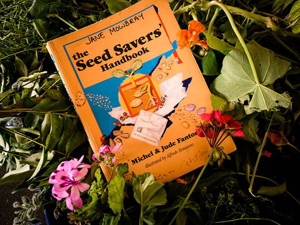 This is the book — the manual — when it comes to seed saving, says Jane. The Seed Savers Manual can be ordered from the Seed savers' Network at seedsavers.net